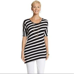 Chico's Size 2 Stripe Asymmetrical Hem Tunic Top
